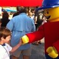 Alexander meets a giant LEGO minifigure at LEGOLAND Florida