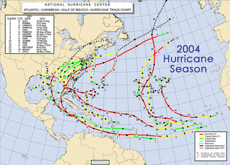 Hurrican Paths in 2004