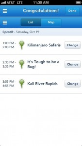 Changing FastPass+ on the mobile app on my iPhone